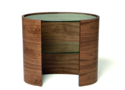 Tom Schneider Designs - Eclipse Console with inset oval glass top and one inset glass shelf