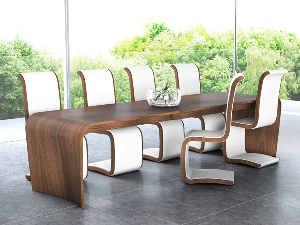Curl_leather_chairs_Curl_extending_dining_table_tom_schneider_curved_furniture