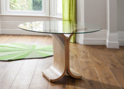 Drift Dining Table with Round Glass Top