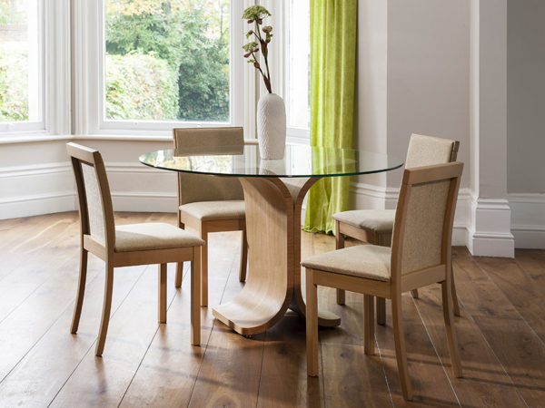 Drift Dining Table with Round Glass Top with Drift Chairs