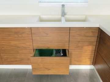 Recycling, food & general waste compartments.