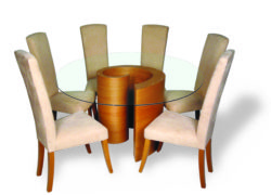 Whirl dining cherry with poise rio41 chairs white