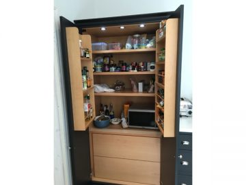 Large larder with spice and bottle rack