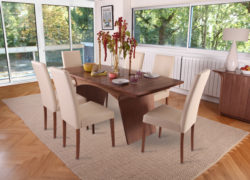 Joyce Dining Chairs, set of 4 in Oak with Taupe faux leather. Excellent condition.
