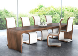 Curl Dining Chair, Walnut Natural and cream leather. Ex-display.
